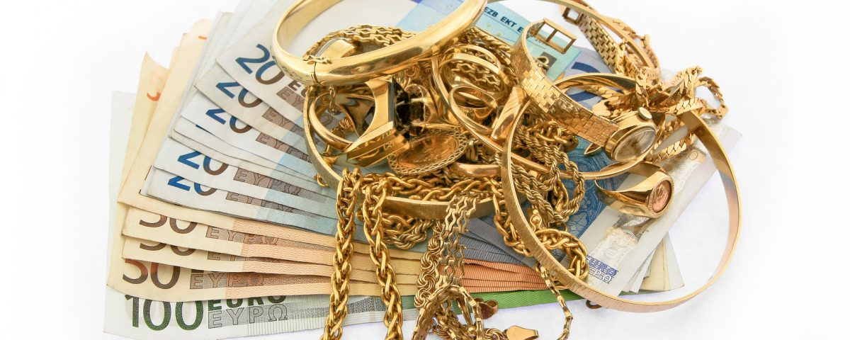 scrap gold, jewellery and money