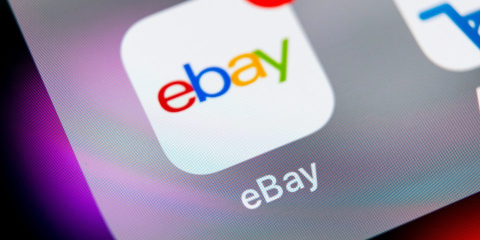 Ebay app logo on phone screen